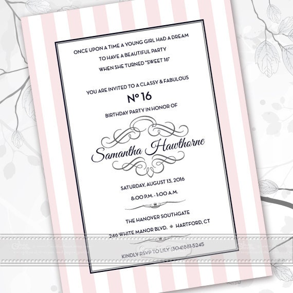 sweet 16 party invitations, rose quartz bridal shower invitations, baby shower invitations, pink and white birthday invitations, IN493