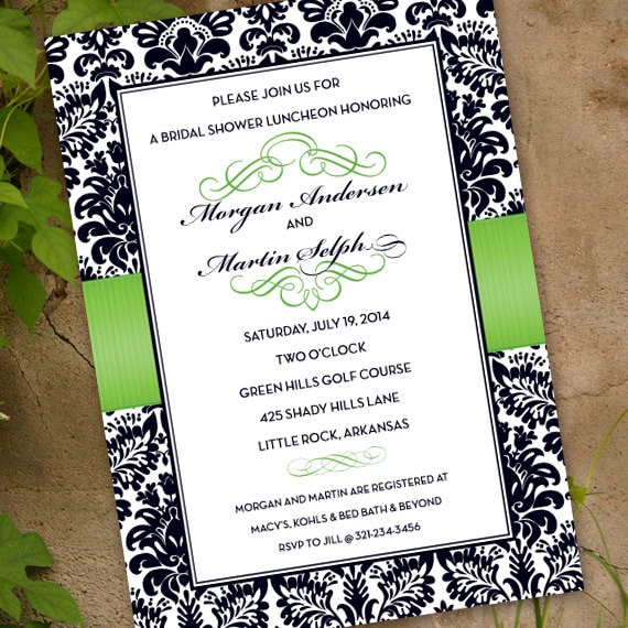 wedding invitations, lime wedding invitations, lime bridal shower invitations, lime graduation invitations, wedding package, IN329