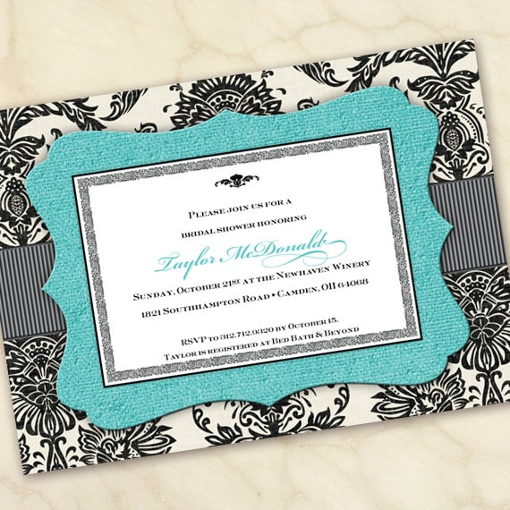 bridal shower invitations, turquoise bridal shower invitations, wedding invitations, turquoise graduation invitations, IN165