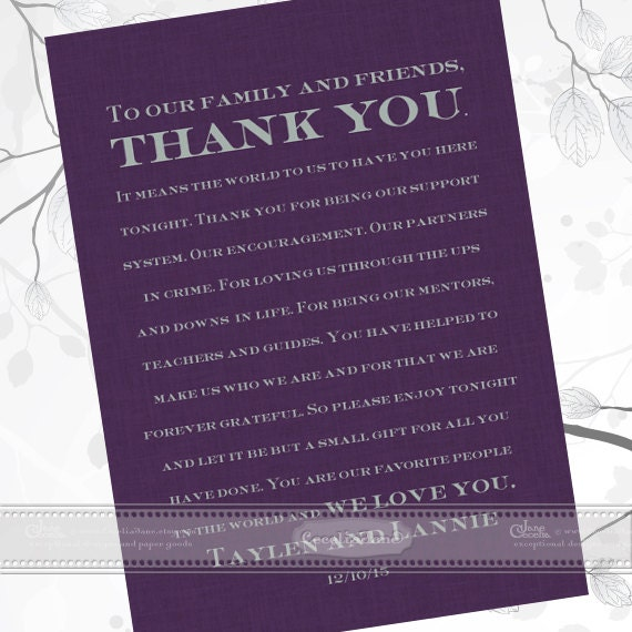 thank you cards, unique thank you card, wedding thank you card, wedding thank you gift, plum wedding invitations, wedding package, IN444