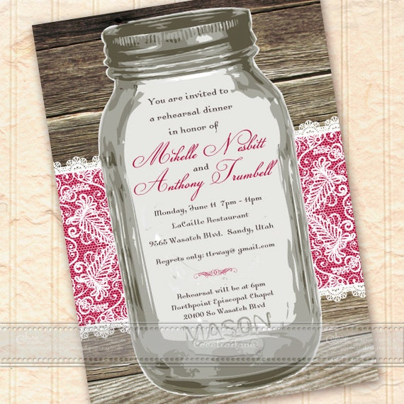 wedding invitations, hot pink wedding invitations, mason jar wedding invitations, bridal shower invitations, wedding package, IN297