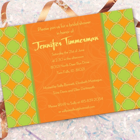 bridal shower invitations, tangerine bridal shower invitations, lime bridal shower invitations, bachelorette party invitations, IN187