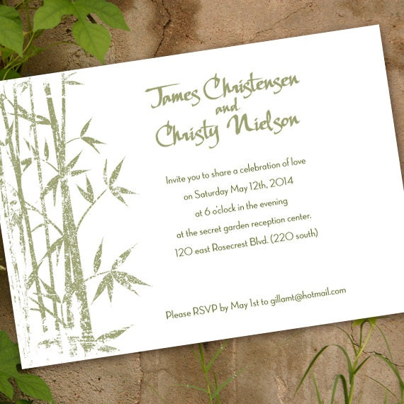 wedding invitations, Asian wedding invitations, sage and white wedding, bamboo party invitation, sage bamboo shower, wedding package, IN294
