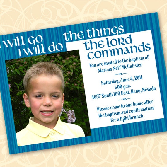 baptism invitation, blue baptism announcement, LDS baptism invitation, blue and white graduation, religious graduation, go and do