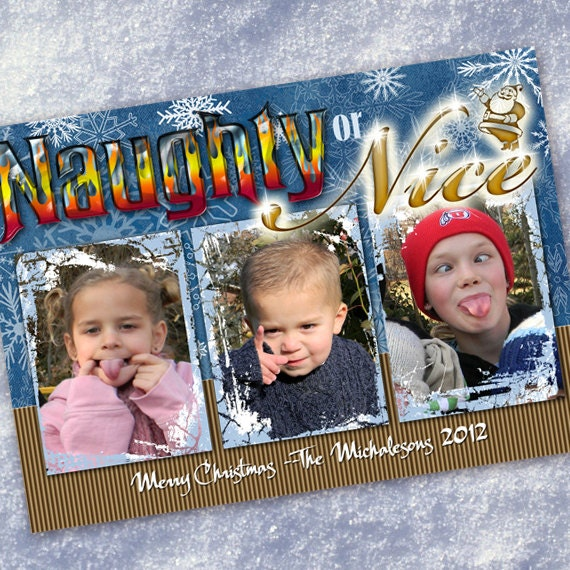 Christmas cards, Naughty or Nice Christmas card, snowflake card, 3 photo Christmas card, angel and devil Christmas, blue and gold, CC070