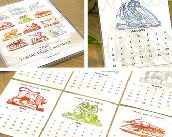 2018 desk calendar, 1/2 PRICE SALE!!, zodiac desk calendar, 2018 zodiac calendar, horoscope calendar, office desk calendar