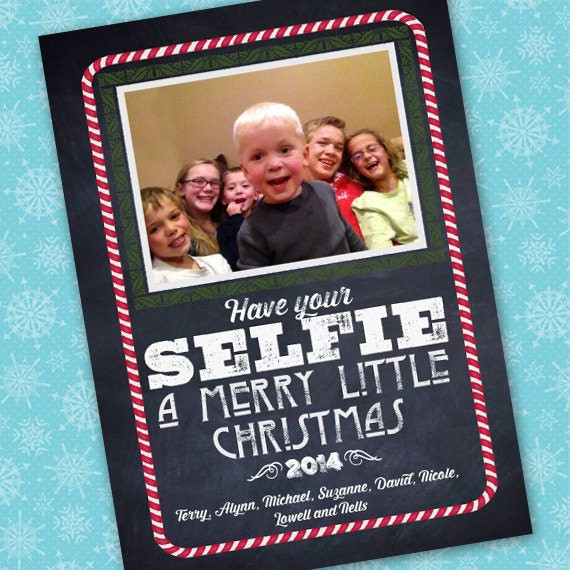 selfie Christmas, Christmas cards, chalkboard Christmas card, have your selfie a Merry little Christmas, blackboard winter greetings, CC075
