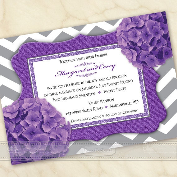 wedding invitations, purple wedding invitations, chevron wedding invitations, purple bridal shower invitations, wedding package, IN543