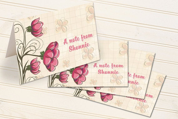 thank you cards, personalized notecards, personalized thank you cards, flower garden notecards, tulip notecards, pink tulip thank you cards