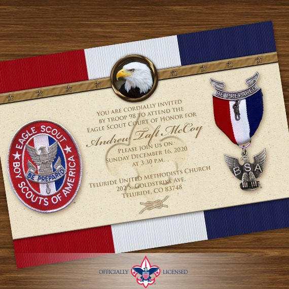Eagle Scout court of honor invitations, single sided invitation, Court of Honor invitation, BSA0401