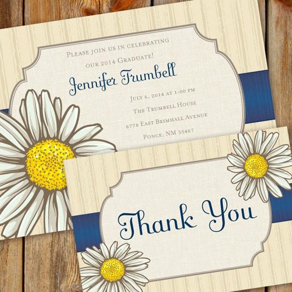 bridal shower invitations, daisy bridal shower invitations, birthday party invitations, thank you card, daisy retirement invitations, IN335