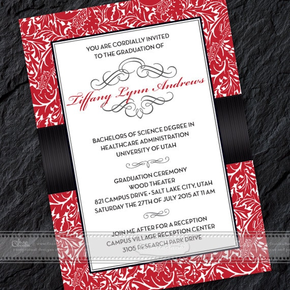 graduation invitations, crimson graduation invitations, red graduation invitations, crimson and black college graduation, grad party IN388v2