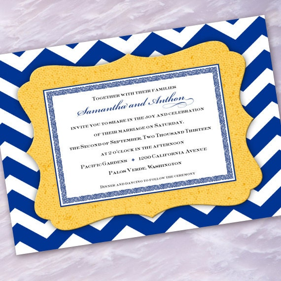 wedding invitations, chevron wedding invitations, cobalt wedding invitations, chevron bridal shower invitations, wedding package, IN271