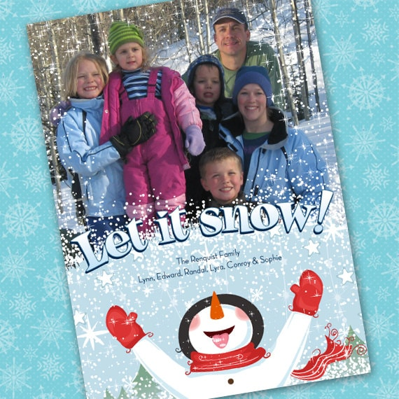 Christmas cards, Let it Snow photo card, snowman holiday card, snowman Christmas card, winter holiday card, New Years photo card, CC021