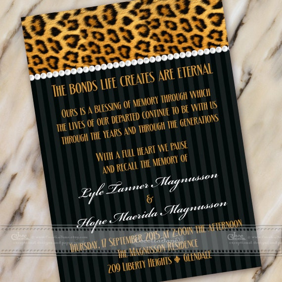 celebration of life invitations, cheetah celebration of life invitations, cheetah wedding invitations, cheetah retirement invitations, IN445