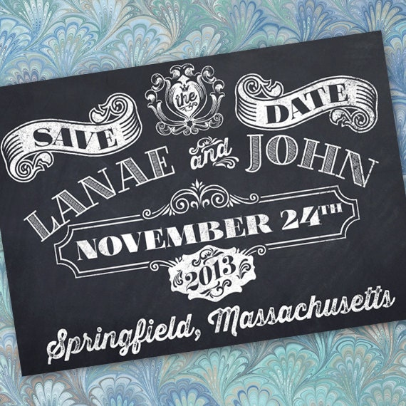 save the date, chalkboard bride and groom, chalkboard save the date card, chalkboard invitation, chalkboard wedding, wedding package, IN243
