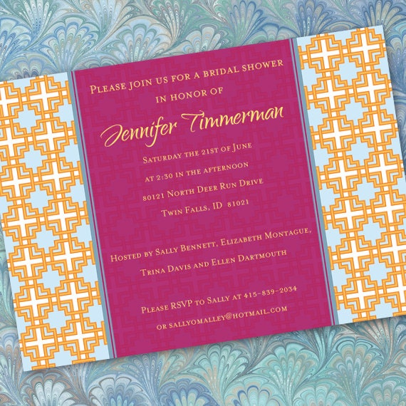 bridal shower invitations, fuchsia bridal shower invitations, hot pink bridal shower invitations, wedding shower invitations, IN192