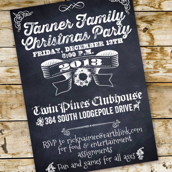 company Christmas party, firm party invitations, employee Christmas party, staff holiday party, blackboard firm party, Christmas party IN250