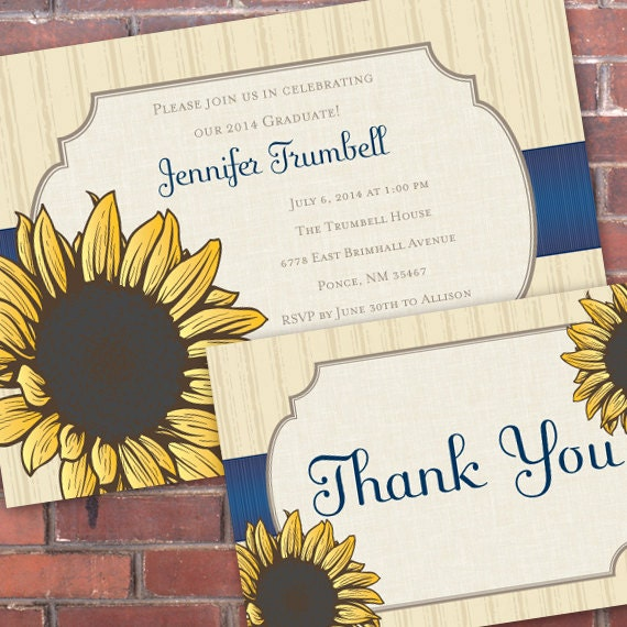 bridal shower invitations, bridal shower themes, sunflower bridal shower, sunflower and royal blue baby shower invitations, IN305