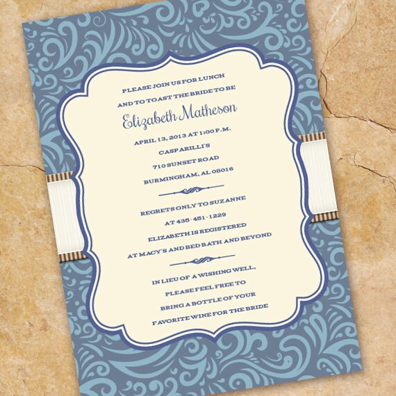 bridal shower invitations, coastal blue bridal shower invitations, blue bridal shower invitations, blue wedding shower invitations, IN214