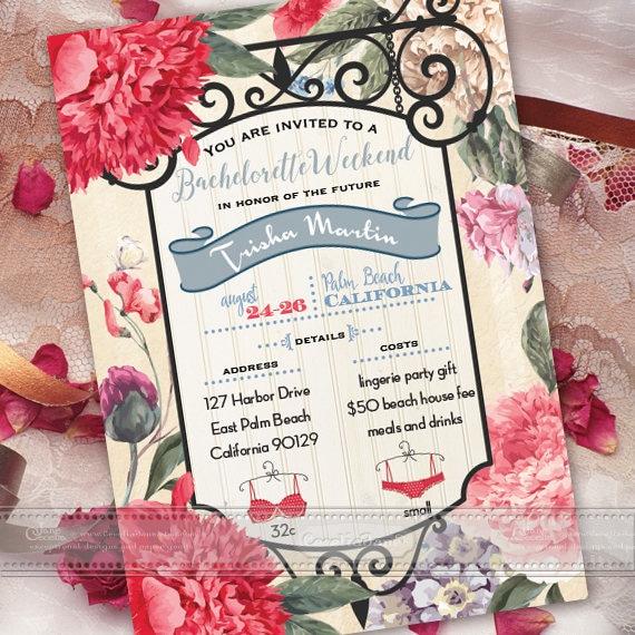 bachelorette party invitation, bachelorette weekend invitation, bridal shower, girls weekend, girls night out, printable bachelorette, IN375