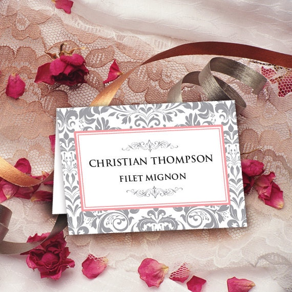 table cards, wedding table cards, silver damask table cards, instant download, editable table cards, pink and silver table cards, ID102
