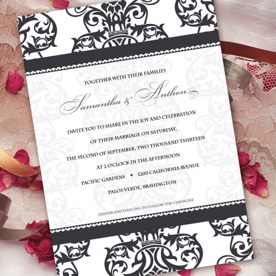 wedding invitations, formal wedding invitations, wedding invitations and rsvp, black tie event invitation, wedding package, IN211