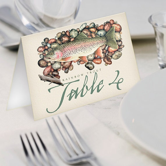 table cards, wedding table cards, fly fishing table cards, rehearsal dinner table cards, retirement party table cards, fly fisherman, IN436