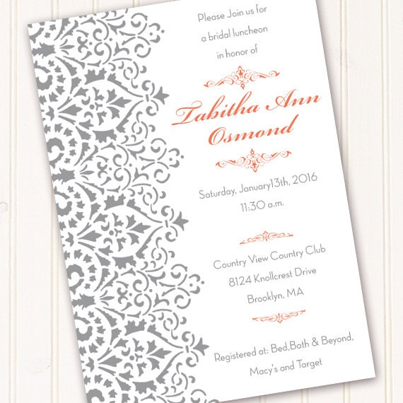 wedding invitations, bridal shower invitations, silver wedding invitations, coral wedding invitations, wedding package, IN422
