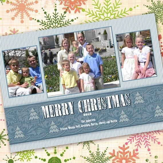 Christmas cards, blue Christmas card, slate blue holiday card, striped holiday card, evergreen Christmas, light blue Christmas, CC068B