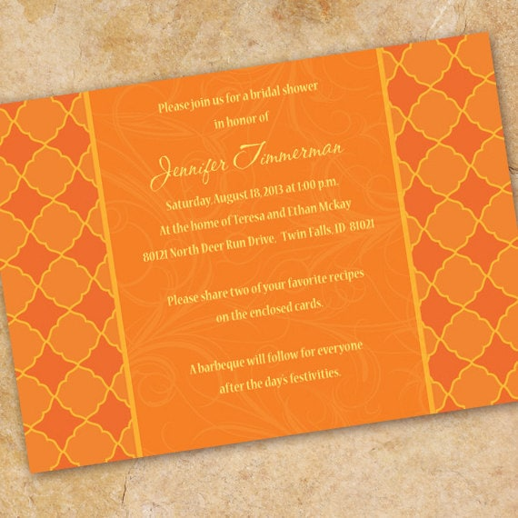 bridal shower invitations, bridal shower ideas, tangerine tango bridal shower invitations, bachelorette party invitations, OSU grad, IN184