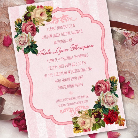 bridal shower invitations, Victorian bridal shower invitations, pink bridal shower invitations, Victorian invitations, tea party, IN262