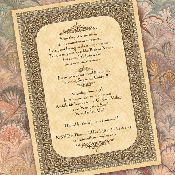 wedding invitations, Vintage wedding invitations, bridal shower invitations, recital programs, wedding package,  IN188