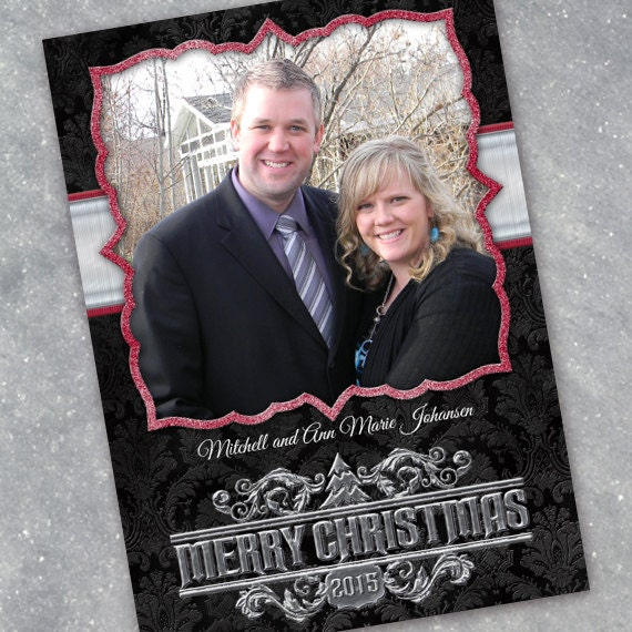 black damask and silver Christmas card with red accents, black damask and cranberry Christmas card, red and silver holiday card, CC087