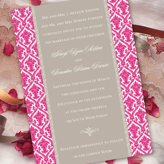 wedding invitations, fuchsia wedding invitations, wedding package, pink wedding shower invitations, pink bridal shower invitations, IN150_4
