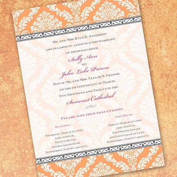 wedding invitations, tangerine wedding invitations, tangerine bridal shower invitations, wedding package,
