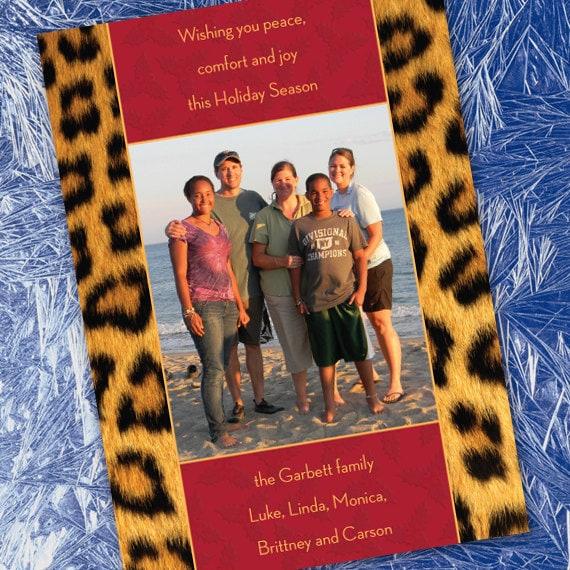 Christmas cards, animal print photo Christmas card, cheetah Christmas card, animal print Christmas card, safari Christmas, CC008B