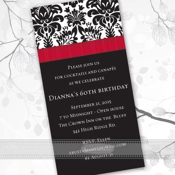 birthday party invitations, formal birthday party invitations, fancy birthday party invitations, crimson graduation invitations, IN404