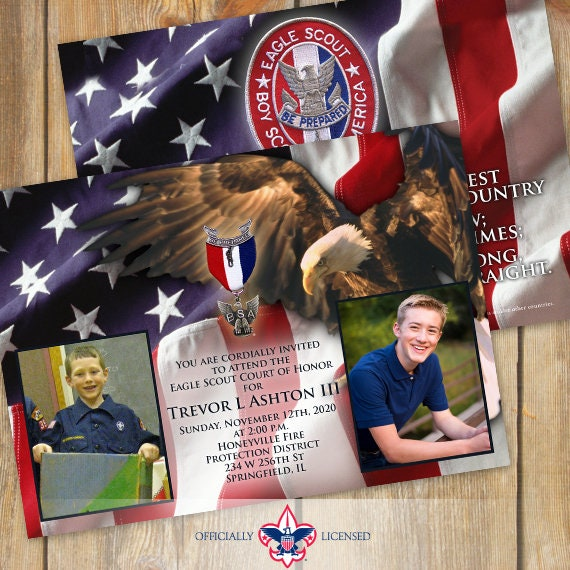 Eagle Scout court of honor invitations, double sided invitations, Court of Honor invitation, BSA invitations, BSA0801