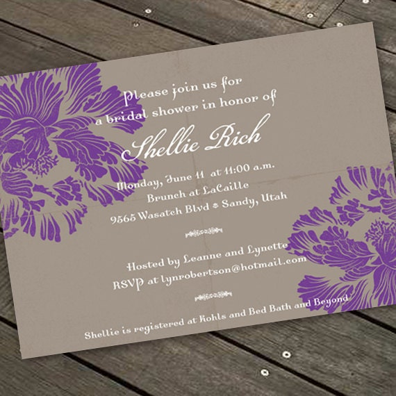 bridal shower invitations, purple bridal shower invitations, hyacinth bridal shower invitations, purple bridal shower invitations, IN155