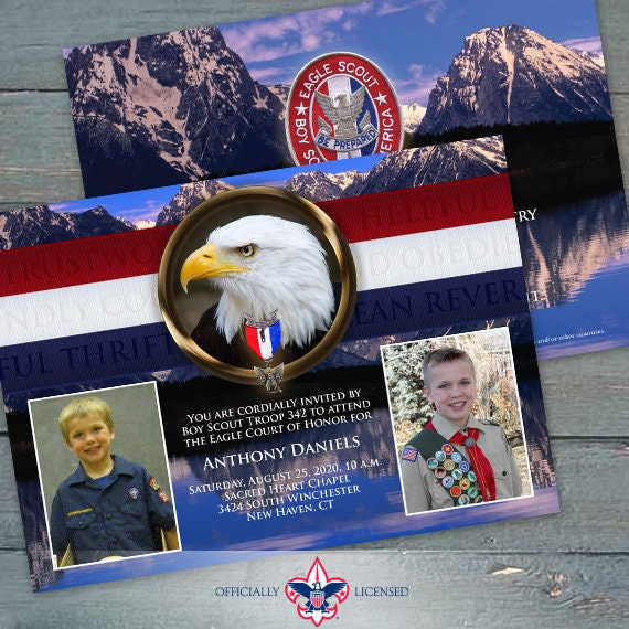 Eagle Scout court of honor invitations, double sided invitations, Court of Honor invitation, BSA, BSA0601