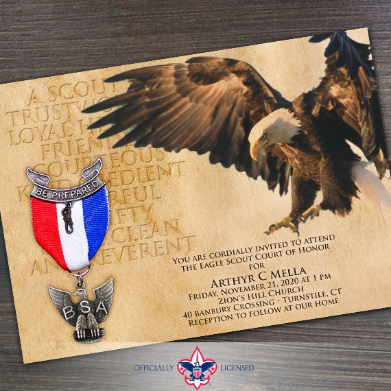 eagle scout court of honor invitation, Boy Scouts of America invitation, parchment Eagle Scout invitation, Court of Honor, BSA, IN532