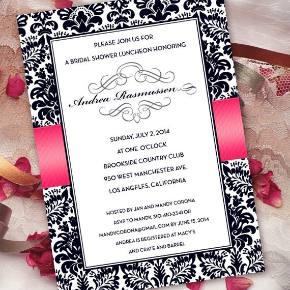 bridal shower invitations, hot pink bridal shower invitations, fuchsia bridal shower invitations, graduation invitations, IN285