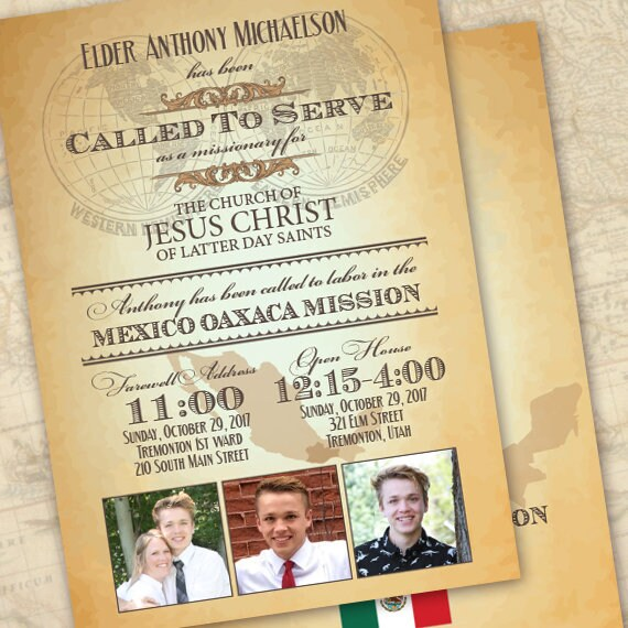 missionary farewell, missionary invitation, missionary homecoming invitation, returned missionary invitation, called to serve, IN649