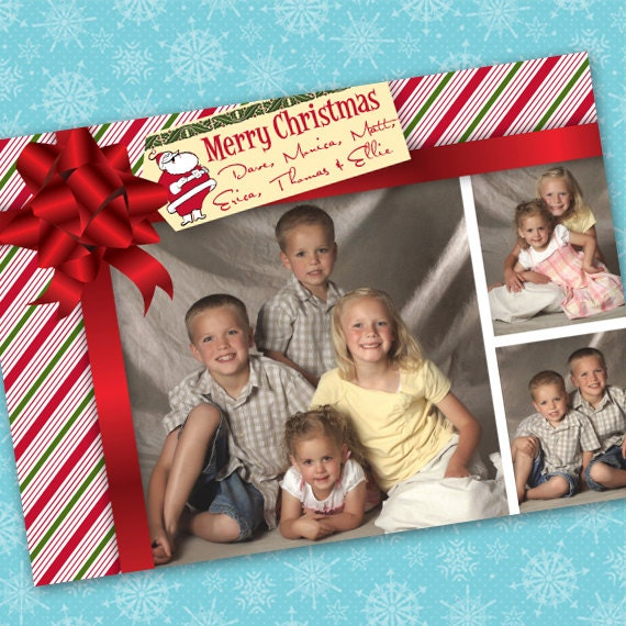 Christmas cards, candy cane Christmas, red and green Christmas, candy cane photo Christmas card, Christmas present card, CC066B