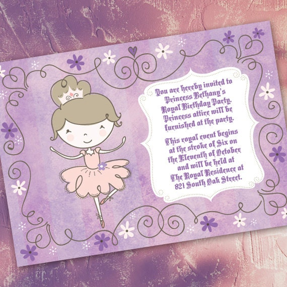 birthday party invitations, 1st birthday party invitations, lavender ballerina invitations, princess party invitations, purplicious party