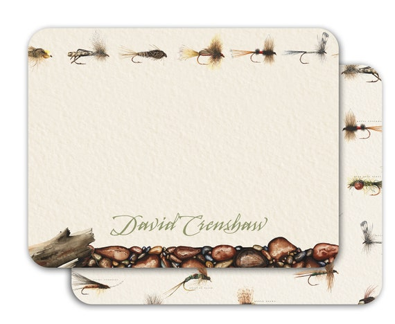 thank you cards, fly fishing notecards, fly fishing thank you cards, fly fisherman gift, fathers day gift, outdoors cards, NS181