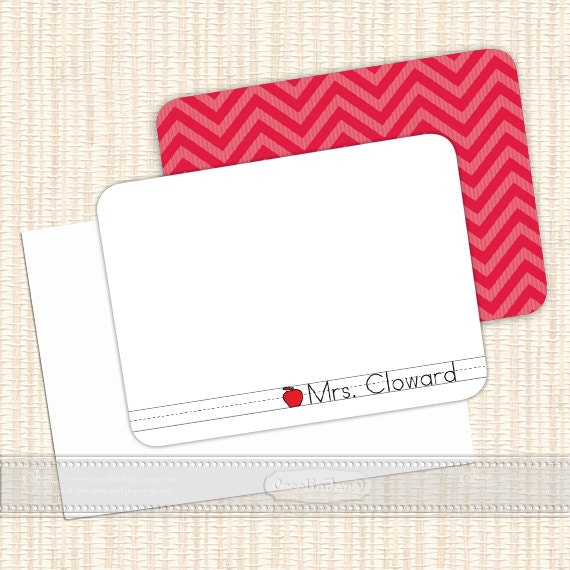 personalized notecards, thank you cards, teacher notecards, chevron notecards, personalized stationery, teacher gifts, NS119