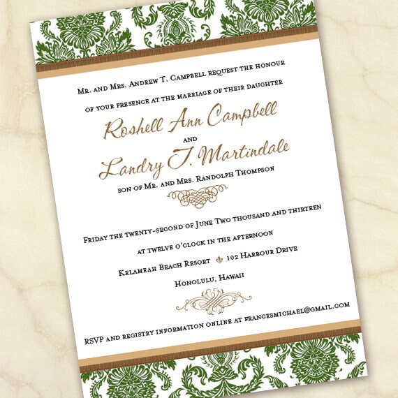wedding invitations, wedding invitations with rsvp, moss wedding invitations, wedding insert cards, wedding package, IN641