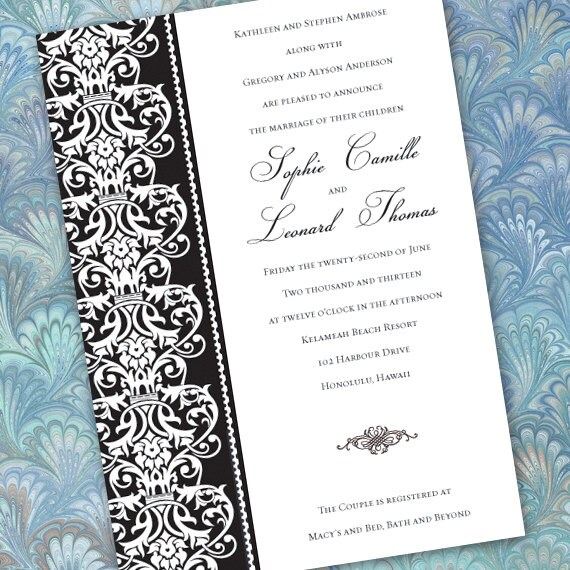 wedding invitations, black formal wedding invitations,  black and white invitations, fundraising dinner invitations, wedding package, IN212